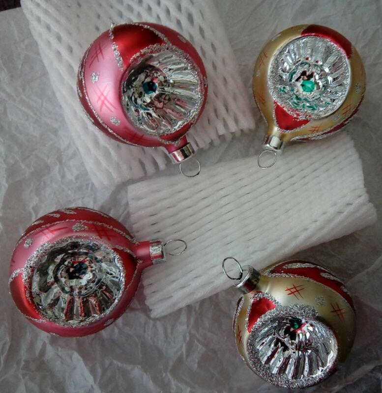 Vintage~Set 4~Bradford~Hand Painted~Christmas Trimmeries Ornaments~Mexico Indent