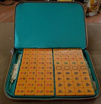 Vintage Mahjong Set Butterscotch Bakelite Tiles with case, picture. 144pc
