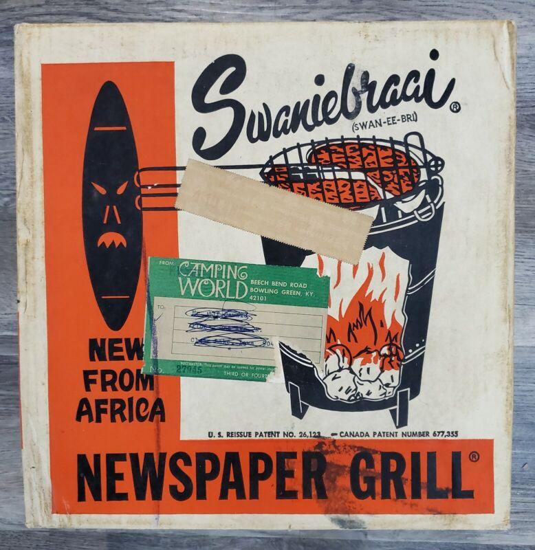 Vintage Newspaper Grill Portable Camping Safari BBQ Swaniebraai USA Made 60