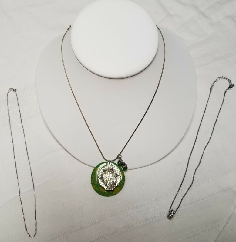 Lot of Three Silver or Silvertoned Chains Necklaces + Locket