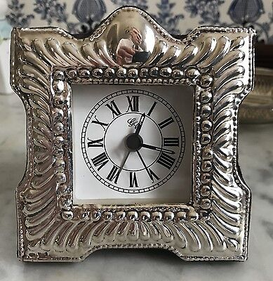 925 Sterling Silver Desk Quartz Alarm Clock, Hallmarked, 4, Tested