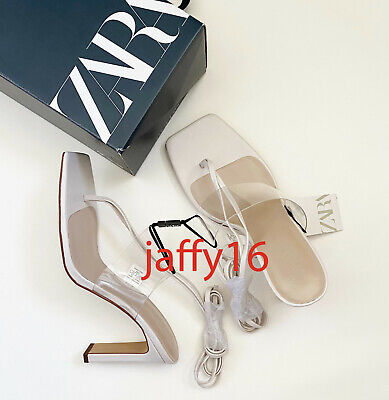 ZARA NEW WOMAN TIED VINYL HIGH-HEEL SANDALS SHOES WHITE 35-42  3310/510