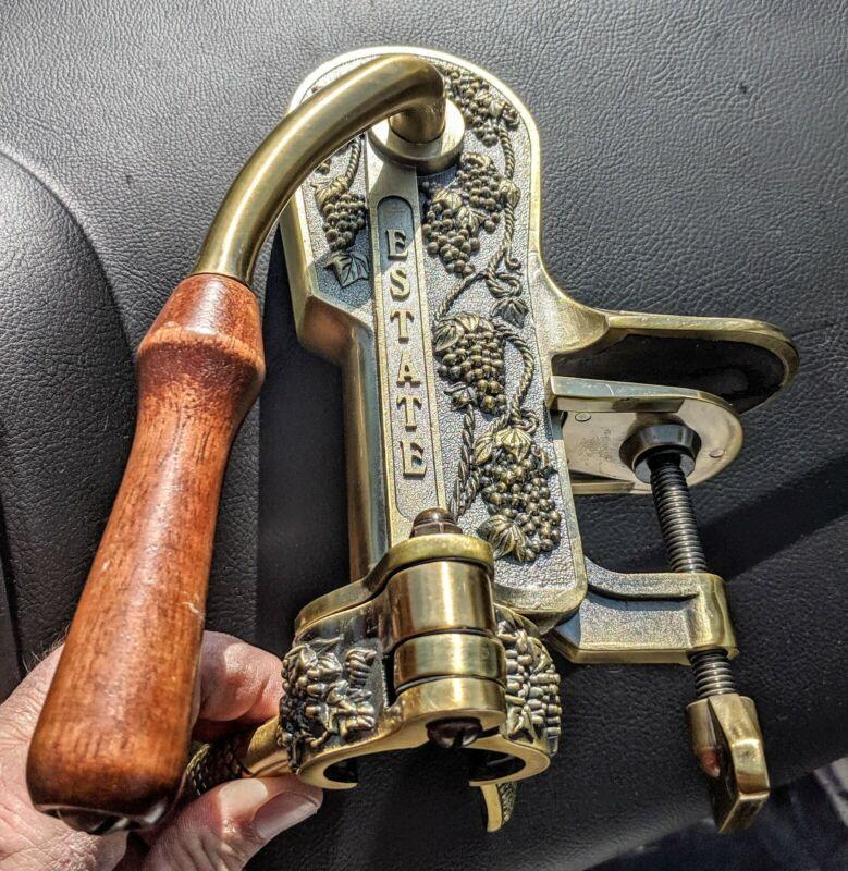 Roger Estate Wine Bottle Opener Bronze Finish Wood Handle Corkscrew