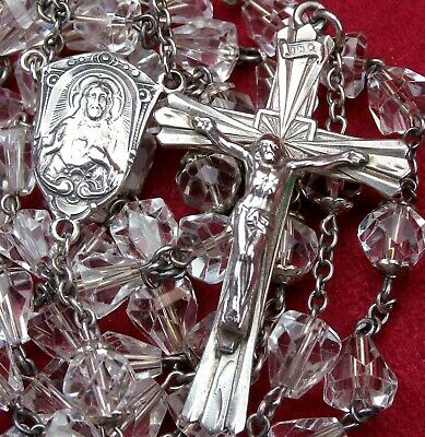 Sister SHEEHAN RARE Engraved 1953 Catholic Confirmation Sterling Cristal Rosary