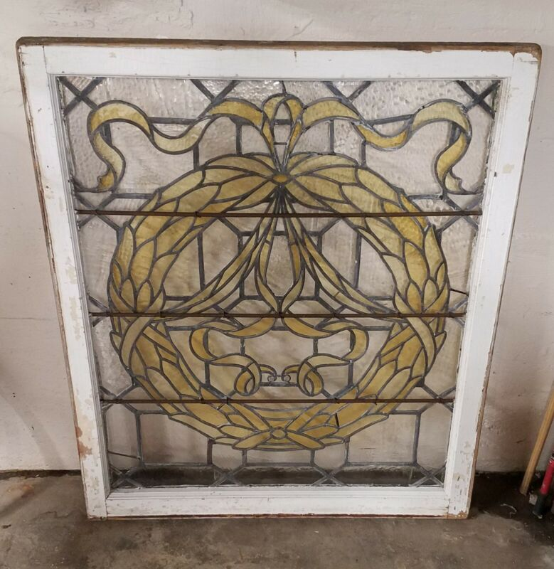 LARGE ANTIQUE STAINED LEADED GLASS LANDING WINDOW CIRCA 1901 NJ MANSION SALVAGE