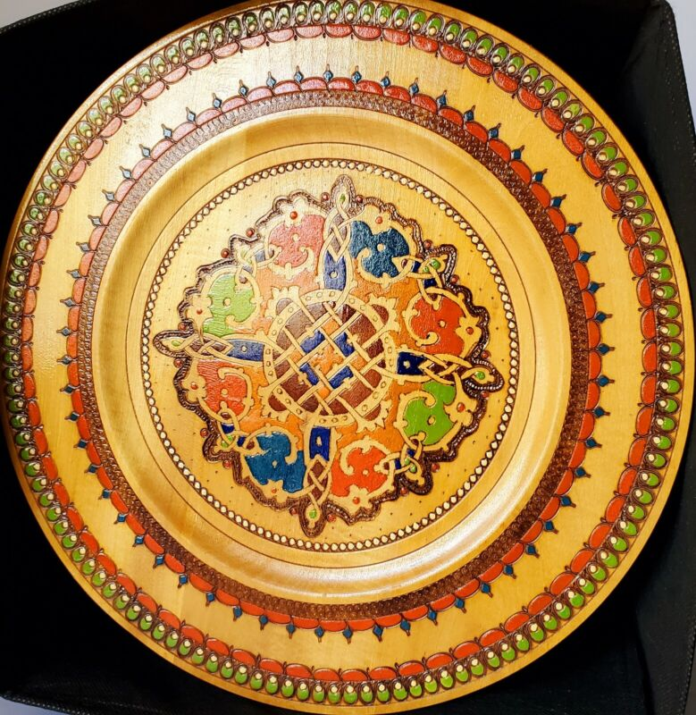 """Bulgarian Folklore Round Wooden Wall Hanging Souvenir 12"""" Plate"""