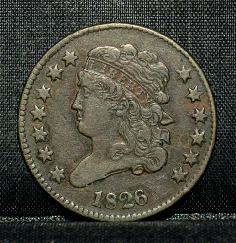 1826 CLASSIC HEAD HALF-CENT ✪ XF EXTRA FINE DETAILS ✪ 1/2C CLEANED N76 ◢TRUSTED◣