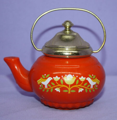 Vintage Avon Orange Tea Pot Decanter ~ Lemon Velvet Bath Foam ~ 5 oz. Full
