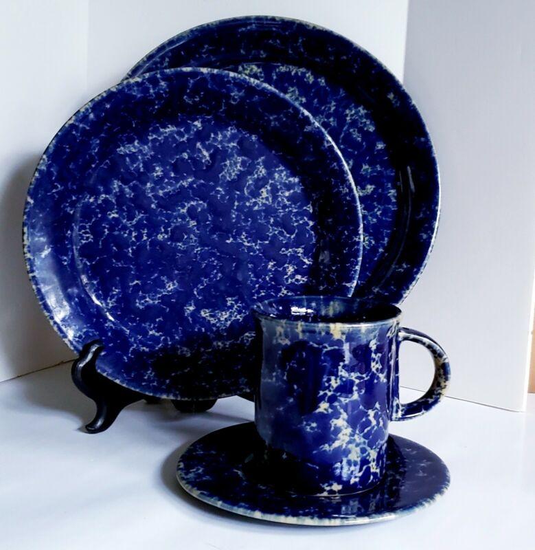 "4 Pc SET BENNINGTON POTTERS STONEWARE BLUE AGATE DINNER SALAD/DSRT B&B & ""D"" MUG"