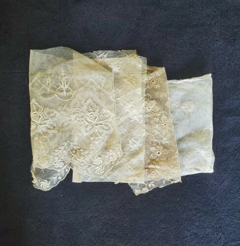 4 Pieces of Fine Antique Lace - Perfect For Dolls