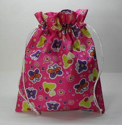 Girls Ladies Drawstring Waterproof Makeup Toiletries Wash Bag, Pink, Butterflies