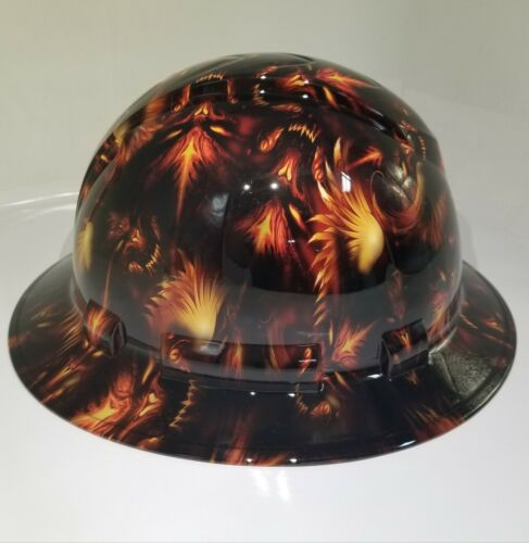 NEW FULL BRIM Hard Hat custom hydro dipped DEMONIC DEMONS FROM HELL NEW SICK 1