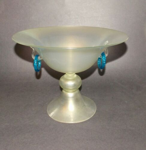 Steuben Verre De Soie Footed Bowl With Celeste Blue Handles