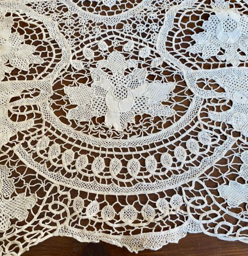 Vintage Hand Made Long Needle Lace Banquet Tablecloth WW259