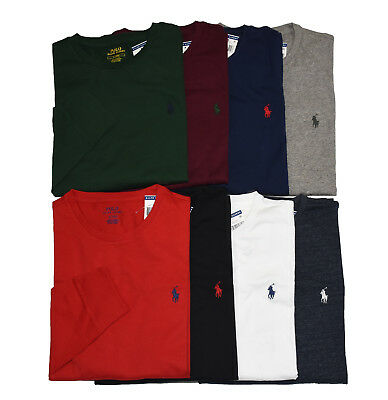 Men Polo Ralph Lauren LONG SLEEVE Crew Neck T Shirt S M L XL XXL - STANDARD (Polo Stock)