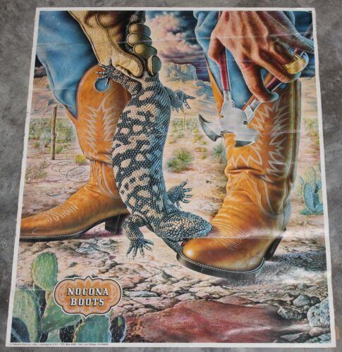 "1980 Nocona Boots 23""x18"" Poster by Alex Ebel - Cowboy - Lizard - Vintage"