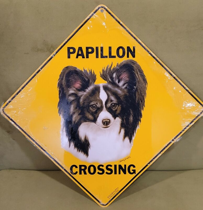 NEW Papillon Dog Crossing Metal Sign 12x12  By Dogwalks Dog Lovers Funny Humor