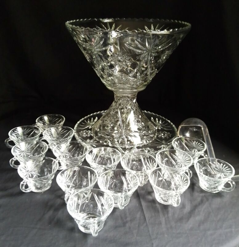 Vintage Early American Prescut 18 pc Glass Punch Bowl Stand 15 Cups & Underplate