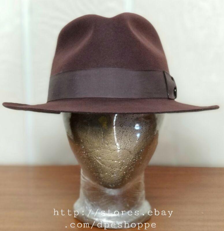 Indiana Jones Official Iconic Brown Wool Felt Fedora Hat  - Sz Large USA