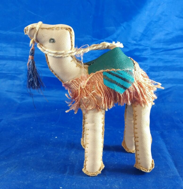 "Vintage Camel Hand Stitched Stuffed Leather Nativity Figure 5"" Tall"