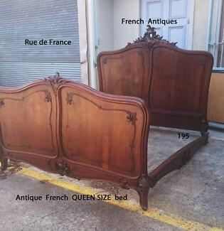 RARE ANTIQUE FRENCH CARVED WALNUT QUEEN  SIZE CARVED  BED Botany Botany Bay Area Preview