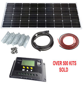 100W Solar Panel LCD Mono Kit 12V Brackets Mounts Caravans Boats Motor homes