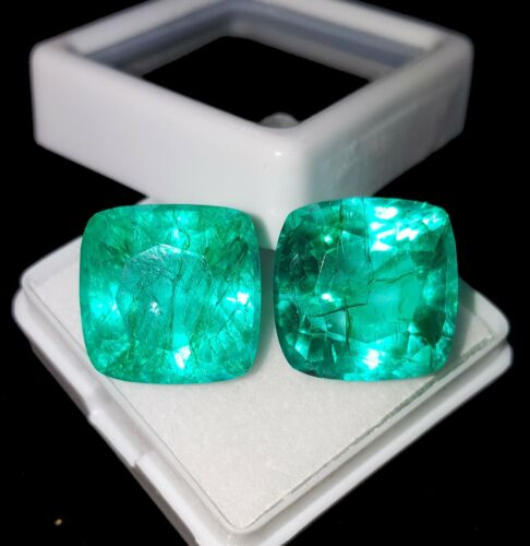 Loose Gemstone 8 To 10 cts Natural Emerald Certified Cushion Shape Pair