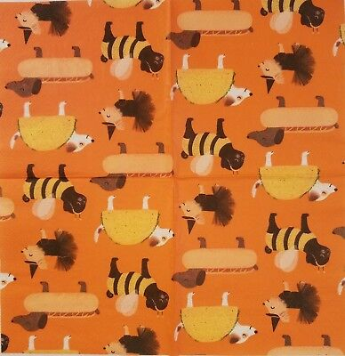 Two(2) Paper Napkins for Decoupage Halloween Dogs Costumes Tutu Bee Taco Hot Dog](Taco Costume For Dog)