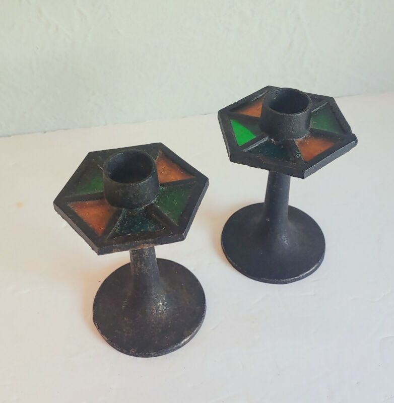 Pair Vintage MCM Modernist Brutalist Metal and Stained Glass Candle Holder Japan