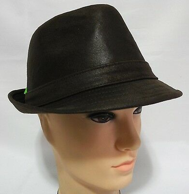 Men Women Cool  Faux Suede  fedora Trilby derby Gangsta Bucket hat Brown
