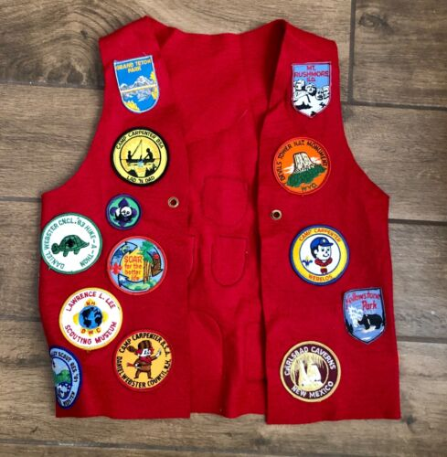 Vintage Boy Scouts of America Red Felt Vest w/ 24 Patches National Parks