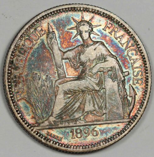 French Indo China 1896 A 1 Piastre 27g Silver Coin VF/XF KM#5a.1 Rainbow Toning