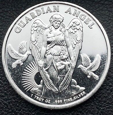 2017 Guardian Angel 1 oz .999 Silver Art Coin Niue $1 Silver Bullion Round  for sale  Shipping to Canada