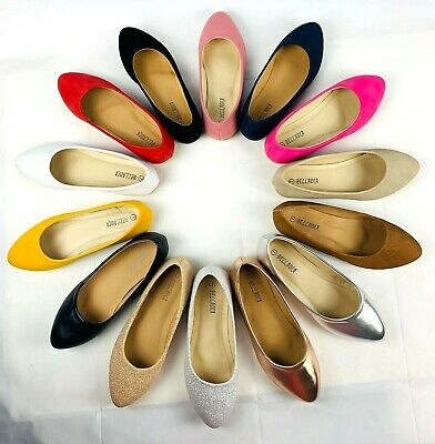 New women lady pointy toe comfortable width ballet flats slip on loafer  shoes   ()