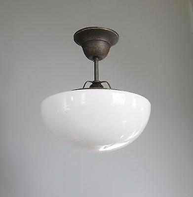 Deckenlampe Jugendstil Opalglas Lampe Hängelampe Messing Antik Pilzlampe Leuchte
