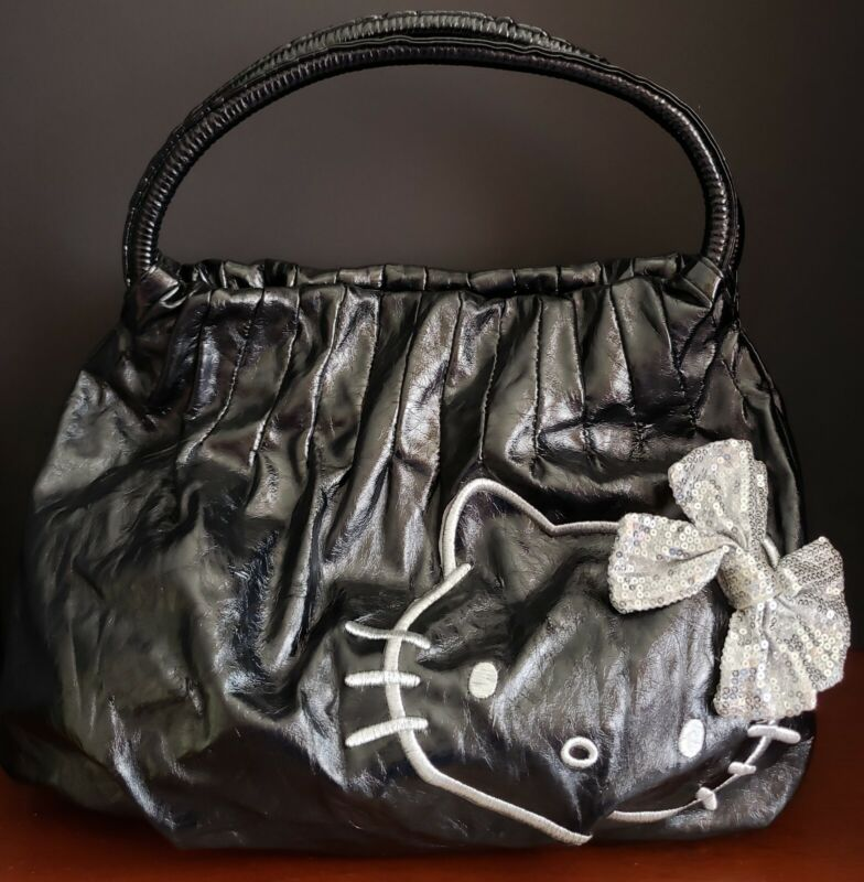 Hello Kitty X Sanrio Black & Silver Crinkle Pleated Hobo Shoulder Hand Bag-EUC!