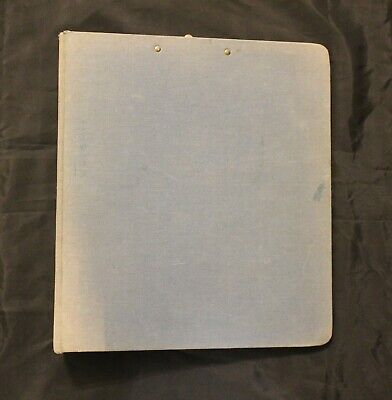 Vintage Blue United Canvas Cloth 3-ring Binder With Clip