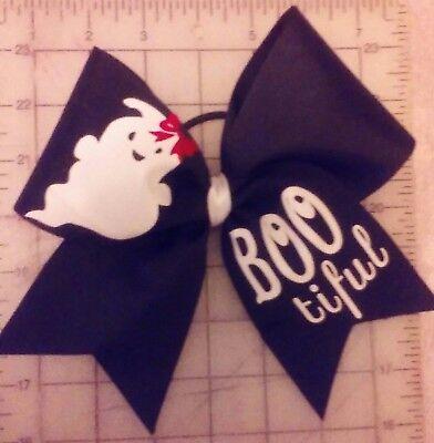 Halloween Ghost Cheer Size Hair Bow - Halloween Cheer Bows