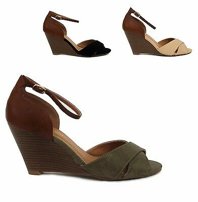 City Classified Missy Womens Peep Toe Crisscross Ankle Strap Wedge Sandals