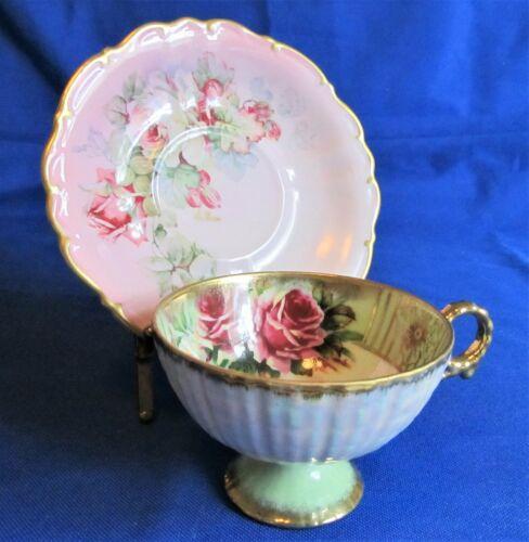 Vtg China Porcelain Teacup/ Floral Saucer Gold Borders Artist Signed de Bec 1154