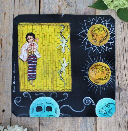 Day of the Dead Tin Retablo Skeleton Sunbathing Iguanas Oaxaca Mexican Folk Art