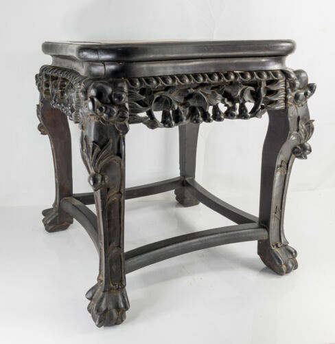Antique Chinese Carved Hardwood Hongmu and Marble Table Base Stand
