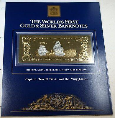 1981 Antigua/Barbuda $100 Gold & Silver Note-Captain Howell Davis & King (100 Antigua Note)