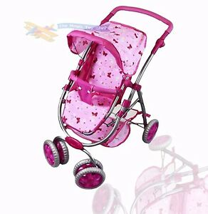Dolls 4 Wheel Deluxe Pink Stroller Girls Pram Pushchair Buggy Butterfly Pattern