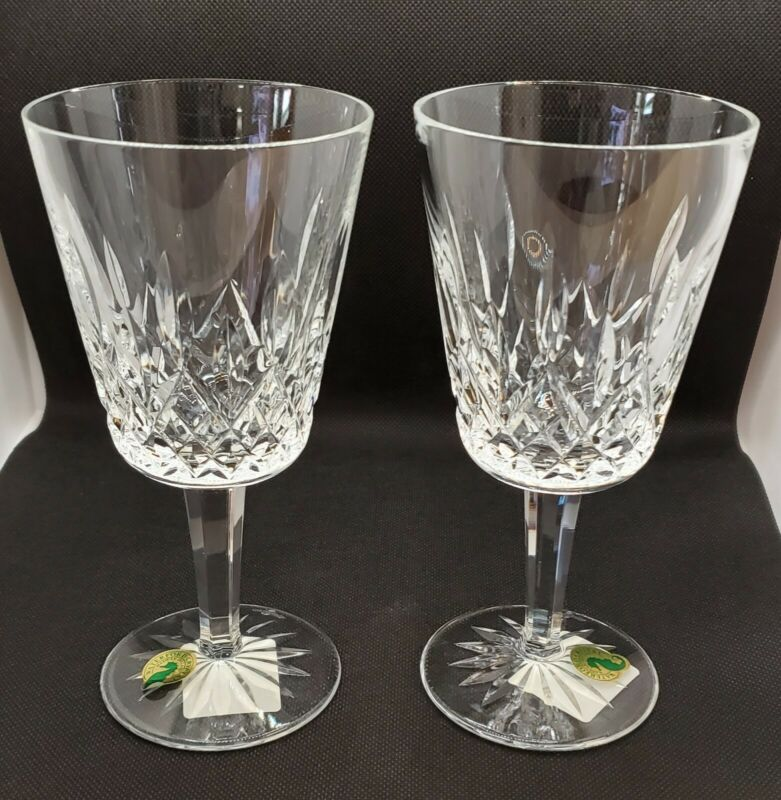 Waterford Crystal LISMORE Goblets ~ Set of 2  #6003180200 New with Tags ~Ireland