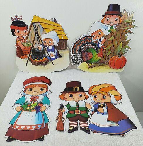 4 VTG 2-Sided Die Cut Thanksgiving Decorations - Pilgrims - Pumpkin - Turkey