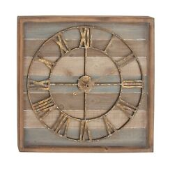 """Decmode - Extra Large Square Striped Wood Wall Clock w/ Roman Numerals, 30"""" x 30"""