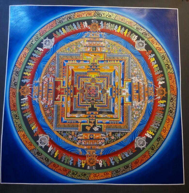 Large Handpainted MasterPiece Tibetan Mandala Genuine thangka Painting Buddha