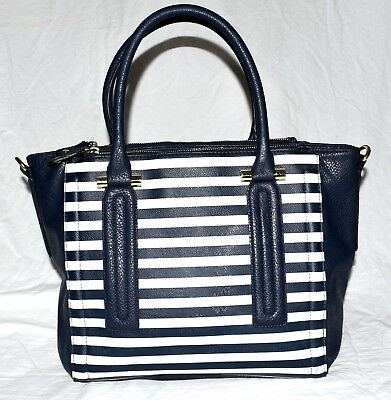 Merona Navy Blue & White Striped Faux Pebbled Leather 3 Section Tote Bag NWOT ()