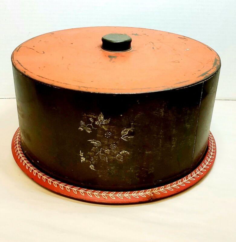 "Vintage Cake Carrier Orange and Gray Tin 11.5"" Diameter"